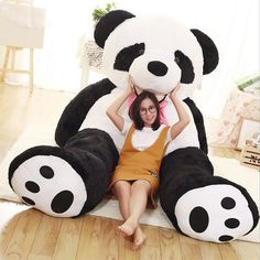 260CM Giant Oversize Panda Doll Tie Panda Stuffed Plush Panda Bear Doll Large Buggy Plush Toy For Baby Birthday Valentine Gift-in Stuffed & Plush Animals from Toys & Hobbies on Aliexpress.com   Alibaba Group