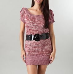 Boat-Neck Sweater Dress with Belt