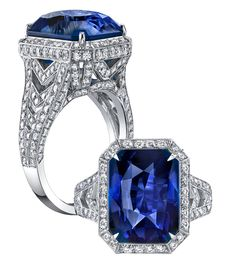 This exceptional platinum ring by Robert Procop features a cushion-shape blue sapphire surrounded by diamonds. Available at TIVOL