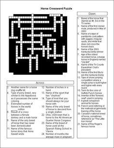 Horse Crossword Puzzle