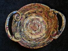 Flecks of Gold basket coiled fabric basket by JKTextileArts