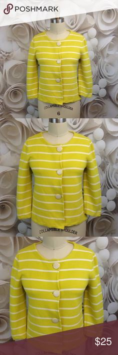 J Crew 3 Button Yellow & White Sweater Sz S Brand: J Crew Style:  3 Button Cardigan - Short Waisted Condition:  Excellent Used Condition - this jacket was never worn.  It has been washed - the tag is included along with an extra button. Fabric:  100% Cotton Size:  Small Colors/Patterns:  Yellow & White / Striped  Measurements : Pit to pit:  36 inches around Shoulder to hem:  20 inches long Sleeve: 17.5 inches long J. Crew Sweaters Cardigans