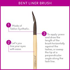 The Bent Liner #brush is a synthetic brush that can be used two ways to achieve beautiful, percise #eyeliner look.  Visit us on Facebook for application tips!