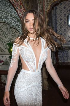 bridal long sleeves illusion round deep v neck heaily embellished bodice romantic sexy fit and flare wedding dress