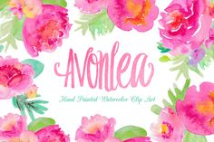 Avonlea Watercolor Flowers Clip Art - Illustrations - 1 Loveton (Font)
