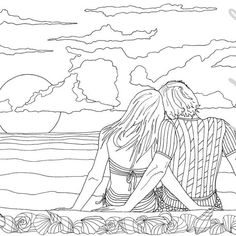 Adult Coloring Book, Printable Coloring Pages, Coloring Pages, Coloring Book for Adults, Instant Download, Loving Couple page 9