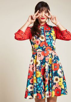 1960s Dresses – A Rainbow of 50 Dresses (Pictures) Hour by Flower Dress in Retro Floral $69.99 AT vintagedancer.com