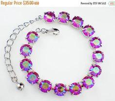 50% Off Sale Raspberry Pink Rhinestone Bracelet Fuchsia Glacier Blue Swarovski Wedding Jewelry Bridesmaid Jewelry