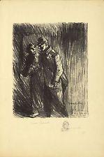 Original Vintage Print Theophile Alexandre Steinlen Coeur Sensible WWI War Love