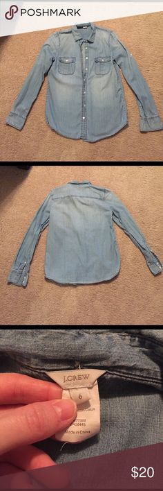 J. Crew Chambray shirt - Like New Like new J. Crew denim Chambray shirt. No stains and has all buttons. J. Crew Tops Button Down Shirts