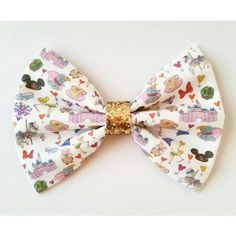 Disney Lover Inspired Printed Glitter Fabric Hair Bow.