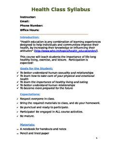 Health Cl Syllabus Template In Word Presentation Rubric