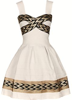 Next Big Thing Dress: Features wide, durable straps bordered with sweet scalloped trim, luminous black and gold chevron print highlighters, retro A-line bandage skirt for a ladylike touch, and an exposed rear zip closure to finish.