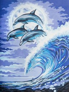 Moonlight Dolphins - - CANVAS ONLY - Penelope Antique Canvas, colour printed design. Canvas size X with DMC thread recommendations. Color Wallpaper Iphone, Colorful Wallpaper, African Paintings, Christmas Ornament Crafts, Colorful Drawings, Diy Painting, Dolphins, Canvas Size, Print Design