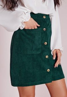 cool Missguided - Cord Button A Line Mini Skirt Green