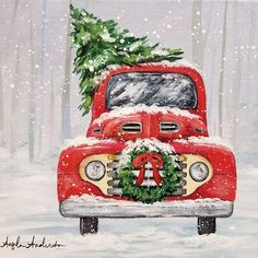 Red Christmas Truck Acrylic Painting Tutorial by Angela And. Christmas Red Truck, Christmas Signs, Christmas Pictures, Christmas Decorations, Christmas Canvas, Christmas Art, Winter Christmas, Vintage Christmas, Painted Christmas Tree