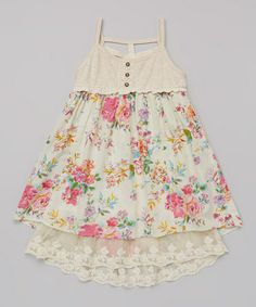 Loving this Pink & Cream Floral Tank Dress - Toddler on #zulily! #zulilyfinds....added to Leigha's closet