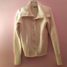 """J. Crew white chunky sweater White knit sweater with collar neckline that can be buttoned up or worn like in the pictures. A great piece for your winter wardrobe. 80% cotton 20% angora rabbit hair. Super soft!  Length: 22"""". J. Crew Sweaters"""