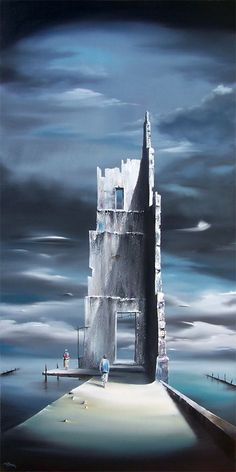 "Return - David Fedeli 48""x24"" Oil and Sand on Canvas"