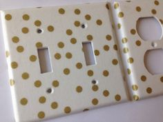 Gold White Polka Dots Double Light Switch Plate Cover Outlets / Gold Home Decor / White Gold Bedroom Decor / Gold Nursery Decor / Gold Decor
