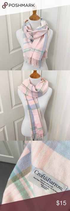 Preppy Pink Plaid Scarf 🍑 One Size  🍑 Pink, Mint, Lavender, Taupe 🍑 100% Acrylic 🍑 EUC 🍑 Croft&Barrow Brand  ✨ Price is FIRM  ✨ All items from a smoke free home  ✨ Please ask questions prior to purchase croft & barrow Accessories Scarves & Wraps