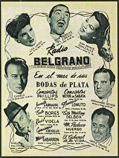 Publicidad de programación. Radio BELGRANO, Buenos Aires, década del 40.