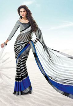 Blue and Grey Satin Saree with Blouse