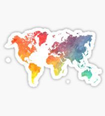 Pegatina Map of the world colored