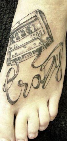 crazy tattoo foot cassette tape