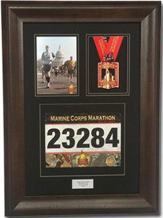 Triumph Marathon and Triathlon Photo, Finishing Medal and Race Bib Framing Kit - Library Mahogany Running Bibs, Running Medals, Race Medal Displays, Marathon Photo, Award Display, Race Bibs, Medal Holders, Running Inspiration, Run Disney