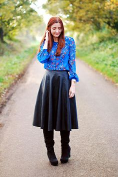 Boots, Blue Florals and Black Leather by Not Dressed As Lamb, via Flickr