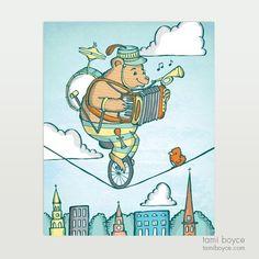 One Bear Band, Charleston Tightrope Series - Tami Boyce Kids Decor, Charleston, Brave, My Arts, Comics, My Love, Drawings, Design, Draw