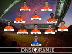 WK2014 -Woensdag 9 Juli Opstelling Nederland - Argentinie (Halve finale)