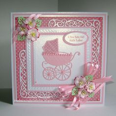 Another Baby Girl Card ... Using Dies from Spellbinders Grand Squares, Tonic Scalloped Squares, Joy Craft Ovals, Creative Epressions / Sue Wilson New York Times Square and Open Petals, Marianne Designs Pram, Flowers from Wild Orchid Crafts and Paper from Nitwitcollections....