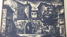 Items similar to Istria Croatia Linocut - Art Lino-Print - Original Printed Graphics - Signed Graphics - Wall Printed Decor - Black - Vintage on Etsy Istria Croatia, Stone Houses, Black Decor, Linocut Prints, Woodblock Print, Wall Prints, Printmaking, The Originals, 1970s