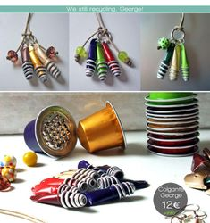 1 coffee pod takes 500 years to breakdown. More than 55 million coffee pods are thrown away every single day. Here are some ideas on how to repurpose in many creative ways your Nespresso capsules, don't throw them away! Recycled Jewelry, Recycled Crafts, Diy And Crafts, Diy Nespresso, Cappuccino Machine, Coffee Machine, Coffee Pods, Coffee Beans, Schmuck Design