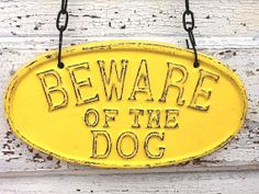 Bright Yellow / Beware Of The Dog Sign / Cast Iron, Home Decor by AlacartCreations