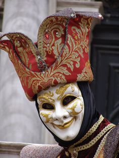 Jester with a Red Hat. Venice Carnival 2015 by Lesley McGibbon