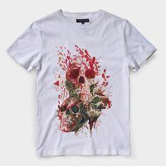 341c58b93 Camiseta Caveira Flores Sangue Masculina Camisa Blusa