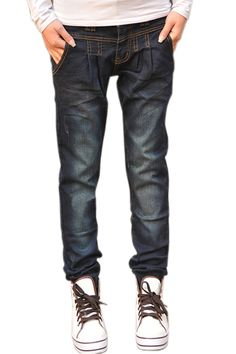 Loose Casual Pleating Dark-blue Jeans    $57.99