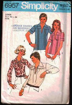 Simplicity Sewing Pattern 6957 Misses, Mens Shirt Size: 42-44 Used