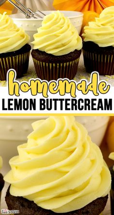 Homemade Lemon Buttercream - When life gives you lemons, make this delicious Lemon Buttercream. Bright, fresh, creamy and lemony. Made with fresh lemons - this is a traditional homemade lemon buttercr Cupcake Flavors, Cupcake Recipes, Cookie Recipes, Cupcake Cakes, Dessert Recipes, Lemon Desserts, Homemade Frosting Recipes, Icing Recipe, Baking Recipes
