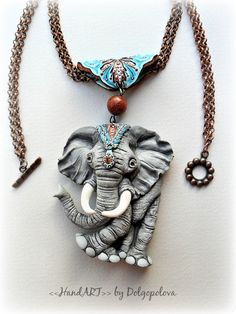 Items similar to Boho elephant necklace - polymer clay pendant - mothers day gift - animal jewelry - summer necklace - polymer clay jewelry - indian elephant on Etsy Polymer Clay Elephant, Fimo Polymer Clay, Polymer Clay Sculptures, Polymer Clay Animals, Polymer Clay Necklace, Polymer Clay Pendant, Polymer Clay Projects, Polymer Clay Creations, Clay Design