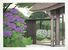 Kazuyuki Ohtsu Japanese Woodblock Prints Hydrangea at Tokeiji Temple in Kamakura