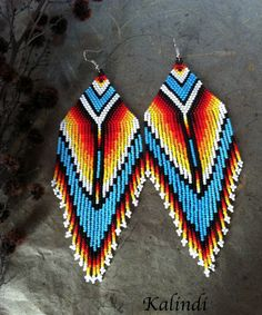 Native american style Beadwork, native style earrings, beaded earrings, seed bead earrings, modern earring, boho earrings, fringe earrings by ShopKalindi on Etsy https://www.etsy.com/listing/260967234/native-american-style-beadwork-native