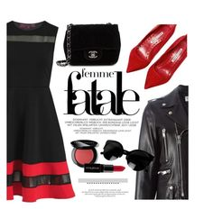 """""""Femme Fatale"""" by luvsassyselfie ❤ liked on Polyvore featuring Yves Saint Laurent, Manolo Blahnik, Chanel, Bobbi Brown Cosmetics, Smashbox, black and red"""