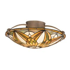 Amazon.com: Kichler Lighting 69030 3-Light Sonora Art Glass Semi-Flush Ceiling Light, Art Nouveau Bronze Finish: Home Improvement