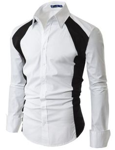 Dress Shirt With Contrast Side Panel (WHITE) - Doublju #doublju #mensfashion #menswear