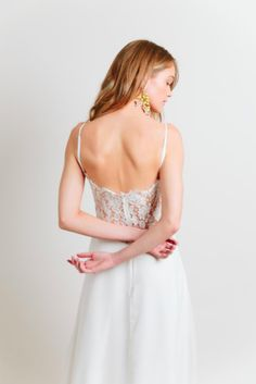Monterey by Sarah Seven available at THE BRIDAL ATELIER www.thebridalatelier.com.au || Modern shoestring thin straps, lace & plain silk wedding dress with v-neck, a lace low back cut out & soft romantic floaty skirt #sheisthebridalatelierbride With Love, TBA xo.