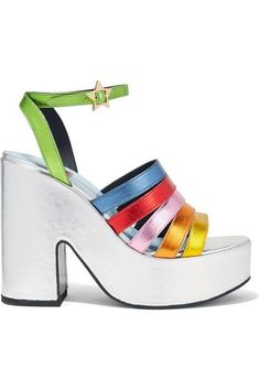 Heel measures approximately 130mm/ 5 inches with a 50mm/ 2 inches platform Multicolored leather Buckle-fastening ankle strap Designer color: Rainbow MetallicSmall to size. See Size & Fit notes.